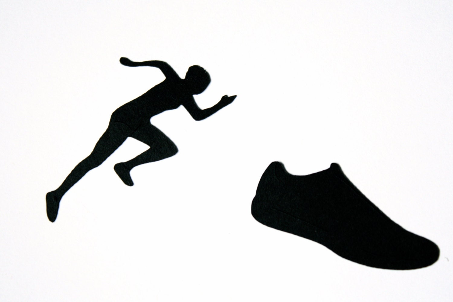 track shoe silhouette runner die cut silhouette female runner and running shoe 5192