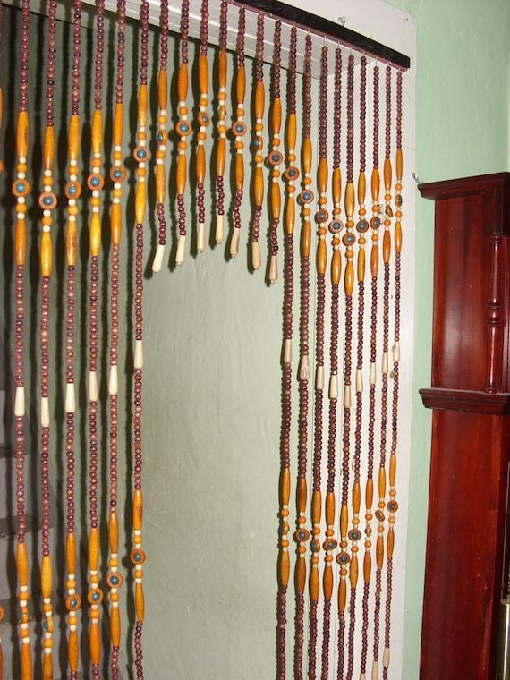vintage retro beaded curtain orange turquoise brown wood