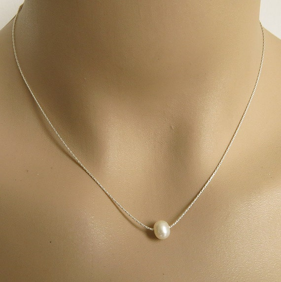 Pearl necklace single pearl necklace sterling silver by ...