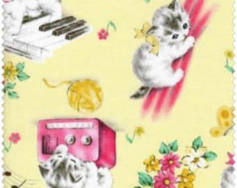 Dear Little World - Playful Kittens Quilt Fabric from Quilt Gate Cats on Yellow Pianos Yarn Balls