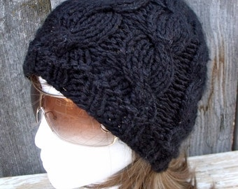 Women's Chunky Cable Knit Hat in Black, Slouchy Beanie