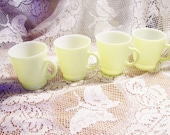Vintage Milk Glass Moderntone Platonite Child Sized Mugs - Set of 4