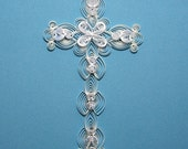 Quilled Paper Cross, Paper Filigree, silver holofoil edge