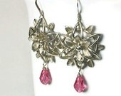 Unique Flower Earrings, Sterling Silver Drop Earrings,  Vintage Inspired, Hot Pink, Handcrafted Jewelry