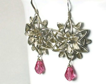 Unique Flower Dangle Earrings, Sterling Silver Earrings,  Vintage Inspired, Hot Pink, Handcrafted Jewelry