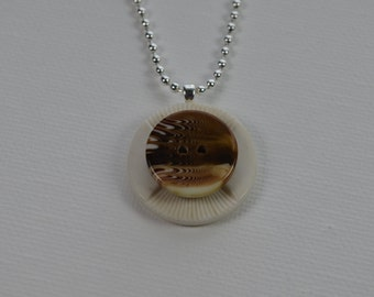 "Vintage button pendant necklace, white, brown, & tan, 18"" sterling silver ball chain"