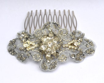 Silver Beaded Bridal Headpiece, Embroidered Headpiece, Rhinestone Headpiece, Diamante Bridal Comb,