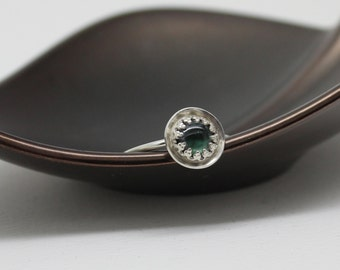 Tourmaline Stacker Sterling Silver Ring - Emerald Green