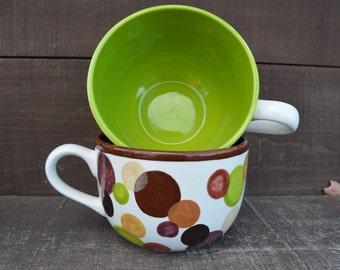 Set of 2 - Earth Tone Polka Dots Ceramic Cappuccino Mugs - 28 oz. - Natural Shades - Browns, Greens, Golds - Sale