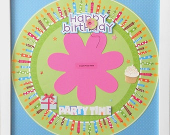 CLEARANCE: BIRTHDAY TIME Premade Memory Album Page (White Veneer Shadow Box Frame Sold Separately)