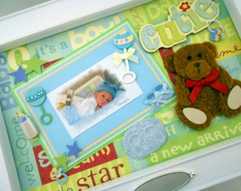 LITTLE CUTIE BEAR Baby Keepsake Box with Engraved Name Plate