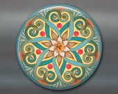 mandala fridge magnet, colourful art magnet, blue kitchen decor, large magnet,  MA-MAND-4