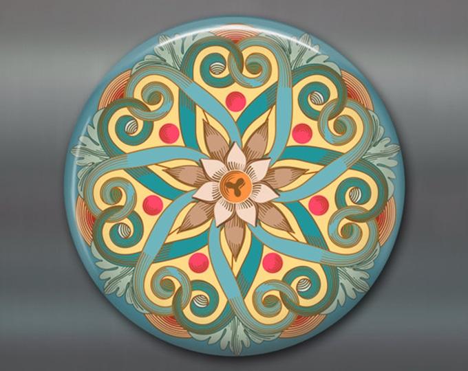 "3.5"" mandala fridge magnet, colourful art magnet, blue kitchen decor, large magnet, stocking stuffer,   MA-MAND-4"