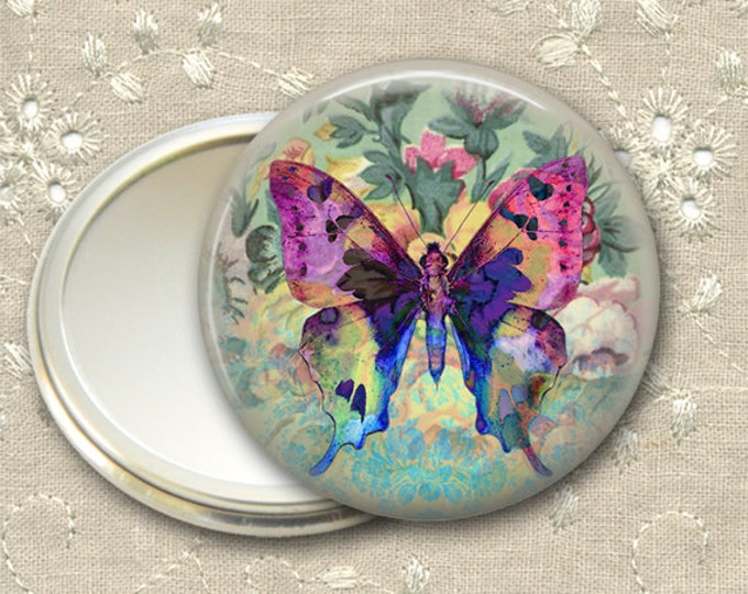 shabby butterfly pocket mirror,  boho chic mirror, mirror for purse, gift for her,  bridesmaid gift, stocking stuffer, hand mirror  MIR-365