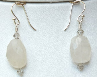 Faceted Rainbow Moonstone and Sterling Silver Lever Earrings-  EA 112