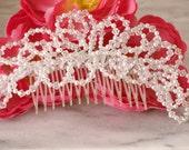 Swarovski Crystal Bridal Hair Comb White Pearl Headpiece Beaded Tiara Wedding Accessory