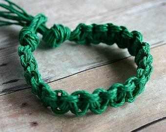 Surfer Macrame Hemp Bracelet Green Woven Knot Friendship Bracelets