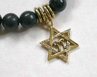 Sale Blackstone Beads Bracelet with Star of David Charm