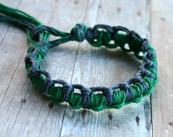 Surfer Thick Hemp Bracelet Or Anklet Knots Green Steelgrey