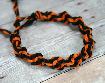 Surfer Macrame Orange Black Hemp Twist Bracelet Halloween