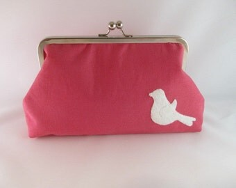 Pink Bird Clutch Purse-Clutch-Purse-Handbag-Kisslock-8 inch- Pink Purse