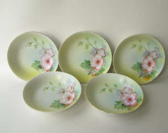 Vintage Floral Bowls, hand painted, japan, Meito China, small