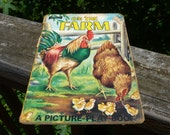ArtCraft Vintage Childrens Book , 1953 On The Farm, A Picture Play Book