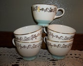 New LOW Price Vintage Lifetime China Gold Crown TeaCups Aqua and Cream 1950's Shabby Chic