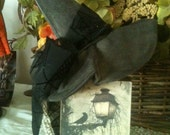 Primitive Halloween Witch Hat Decor Block Black Crow print AB4B  OFG HaFair