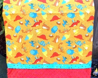 Pillowcase - Dinosaurs Print on Cotton with Cyan Strip and Red Dimple Minky