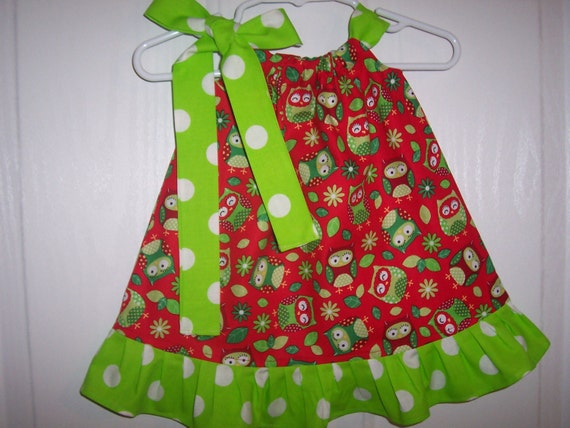 Clearance girls christmas pillowcase dress red owls with choose of