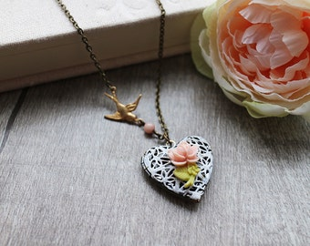 White Filigree Heart Locket Necklace. vintage style lace locket with pale pink rose and flying sparrow, vintage wedding