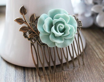 Vintage Style Rose Hair Comb. hair clip. mint green. spring collection. filigree barrette. hair accessory. vintage wedding