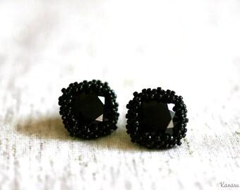 SIMPLY BLACK  Swarovski Crystal Stud Earrings Wrapped in Black Japanese Seed Bead