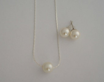 3 Single Floating Pearl Necklace & Stud Earrings Jewelry Sets - Bridal, Bridesmaids, Gift for her