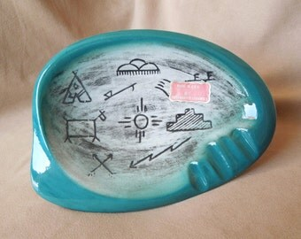 Vintage Southwest Ashtray, Turquoise, Made in USA by Rosemary's Ceramics, 50's, Porcelain, Ceramic, Mid Century