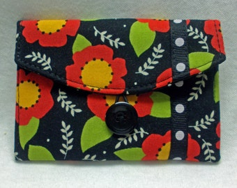 Business Card Holder, Gift Card Holder, Small Wallet, Credit Card Case - Mary Engelbreit Floral Fabric