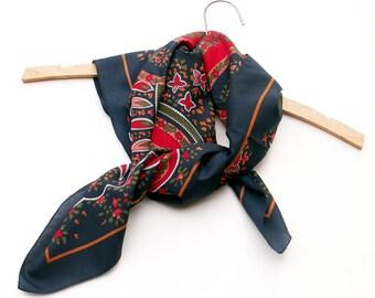 Vintage Scarf Dark Blue Hatband Deep Red Headband Rose Paisley Headwrap Boa Wrap