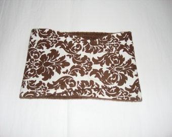 Dog Diaper - Male Dog Belly Band - White and Brown Damask