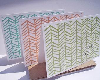 Thank You Cards - Herringbone Thank You Notes, Geometric Modern Thank You Card Set, Orange Chartreuse Moss Teal Dark Pink Wheat Herringbone