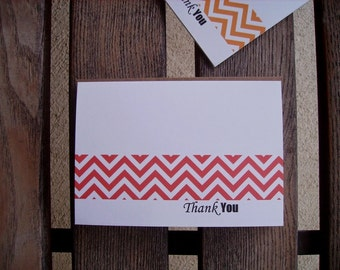 Personalized Chevron Stationery - Chevron Folded Note Cards, Modern Thank You Notes, Geometric Note Card Set, Custom Color Choice Card Set