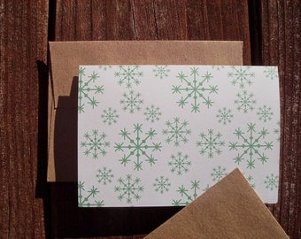 Snowflake Note Cards - Dusty Teal Winter Snowflakes, Seasonal Card Set, Holiday Stationery, Festive Snow Thank You Notes, Wintry Snow Teal