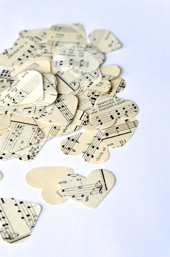 Vintage Sheet Music Heart Confetti, medium size