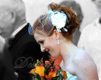 BP3-PI - Bridal Gardenia Hair Flower with Cluster of Swarovski Pearls and Crystals Center, Feathers and  Netting