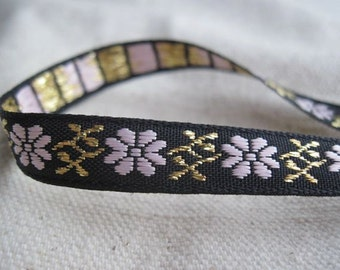 Mountain Flower in PINK and GOLD on Black jacquard woven  ribbon