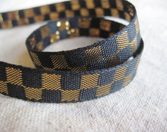 Checkerboard ribbon in metallic GOLD and BLACK