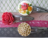 Feels Like Autumn .vintagejewelry flower cab assemblage hair clips