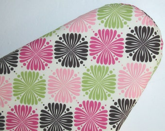 Standard Ironing Board Cover in pink, brown, and green on cream background.