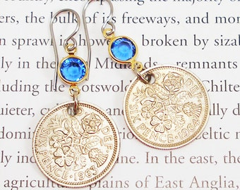 United Kingdom, Vintage Coin Earrings --- Something Old... -- Good Luck - UK - England - Scotland - Northern Ireland - Wales - World History