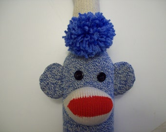 Blue Sock Monkey Wine Bottle Cover